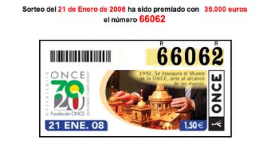 Número premiado ONCE Sorteo Marranico San Antón
